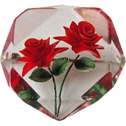 Reverse Carved Lucite Pin Two Red Roses / Vintage Lucite Pin / Fashion Jewelry