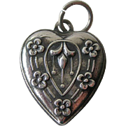 Sterling Puffy Heart Charm Bleeding Heart Flower Design / Art Deco Repousse Sterling Heart / V