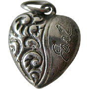 Petite Sterling Repousse Puffy Heart Charm / Sterling Heart / Puffy Heart / Vintage Heart Char