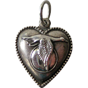 Goose Flying Past Moon Vintage Sterling Puffy Heart Charm / Vintage Heart Charm / Puffy Heart