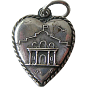 Alamo Sterling Puffy Heart Charm / Vintage Heart Charm / Collectible Heart Charm