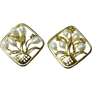 Lovely Gold Tone Basket of Flower Earrings Fresh Water Pearls / Vintage Jewelry / Fashion Jewe