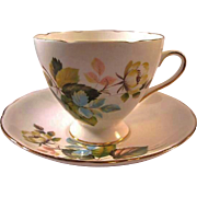 Gladstone Bone China Cup Saucer Flower Decoration / Staffordshore Cup Saucer / England Bone Ch