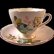 Gladstone Bone China Cup Saucer Flower Decoration / Staffordshore Cup Saucer / England Bone Ch