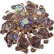 Outstanding Lavender Crystal and Rhinestone Pin