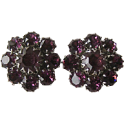 Deep Purple Rhinestone Earrings / Clip Earrings / Prong Set Earrings