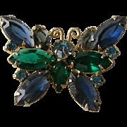 Blue Rhinestone Butterfly Pin