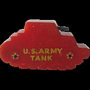 Bakelite Army Tank Pencil Sharpener / US Army Tank Sharpener / Keep 'em Rolling / Collectible