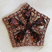 Star Shaped Rhinestone Pin with Teardrop Amber Colored Stones and Copper-tone Setting