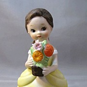 Lefton January Girl Figure with Bouquet of Flowers