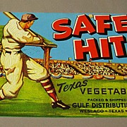 SOLD Safe Hit Vegetable Crate Label from Texas - Baseball Player Game
