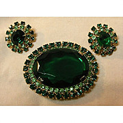 Spectacular Demi Parure with Huge Emerald Green Stone and Matching Earrings