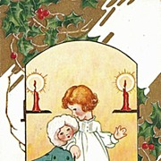 Christmas Postcard of Little Girl Holding Her Doll in Art Nouveau Outfit