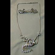 Sparking Krementz Necklace and Earrings Set - Demi Parure