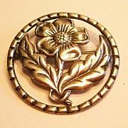 Lovely Sterling Flower Pin