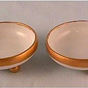 Pair of Royal Austria Open Salts: Hand Painted Salt Cellars