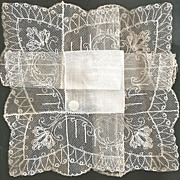 SOLD Exquisite Bride Wedding Hankie Linen wit Wide Cotton Lace and Original Label