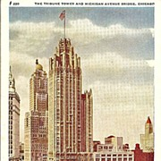 Postcard of The Tribune Tower and Michigan Avenue Bridge in Chicago