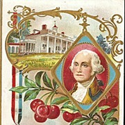 SOLD George Washington Postcard - Father of Our Country with Mt. Vernon and Cherry Branch