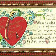 Valentine Postcard with Heart and Wishbone