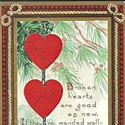 SALE Valentine Postcard with Broken Hearts