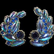 Peacock Glass Rhinestone Earrings