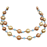 Gold/Blue Opalescent Bead Necklace