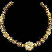 Cloisonne Faux Pearl Necklace