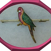Vintage England Rosella Bird Bar Pin