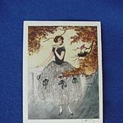 1960's European Post Card w/ Lady & Bird Nest
