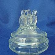 Vintage Depression Three Birds Glass Powder Jar