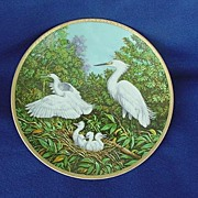 Vintage W.S. George Snowy Egret Chicks Plate