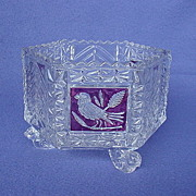 SOLD Hofbauer Ruby Flashed Octagonal Crystal Bowl