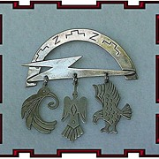 Funky Sterling Silver Birdie Dangle Brooch