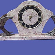 Art Deco French Mantle Cockatoo Clock