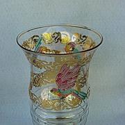 Art Deco Glass Parrot Vase from France
