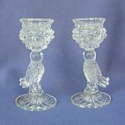Hofbauer Bird Figural Crystal Candleholders