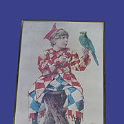Vintage Poll Parrot Poster w/ Boy and Parrot