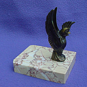 French Art Deco Cockatoo Metal & Marble Garniture / Card Holder