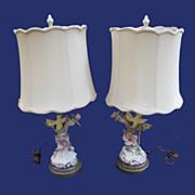 SALE 1940's Cordey Bird Lamp Pair w/ Original Shades