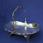 Victorian Silverplate Cake Basket w/ Engraved Bird Motif
