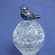 SOLD Hofbauer Byrdes Crystal Egg Shaped Trinket w/ Bluebird