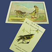 Victorian Scrap Pair: Bird Ad Card, Duck and Dog