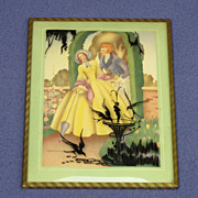 SOLD 1940's Romantic Convex Silhouette w/ Couple and Birdbath Birds