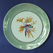 SOLD 1920's - 30's Lusterware Germany Plate w/ Cockatoo & Parrot