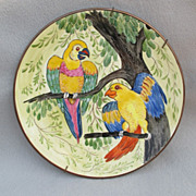 Kitschy 'n Colorful Hand Painted Parrot Plate