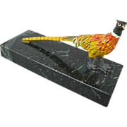 Marble and Metal Pheasant Paperweight
