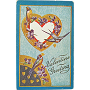 Vintage Valentine Postcard w/ Swallows and Forget-Me-Not Flowers
