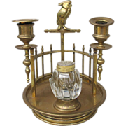 Art Deco Brass Cockatoo Inkwell Candleholder