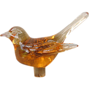 Unusual Glass Bird Perfume Stopper / Flower Frog Finial